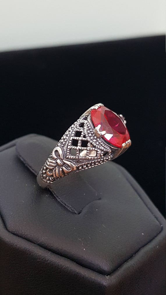 Sterling Silver 2ct Ruby Ring filigree ring 925 S… - image 3