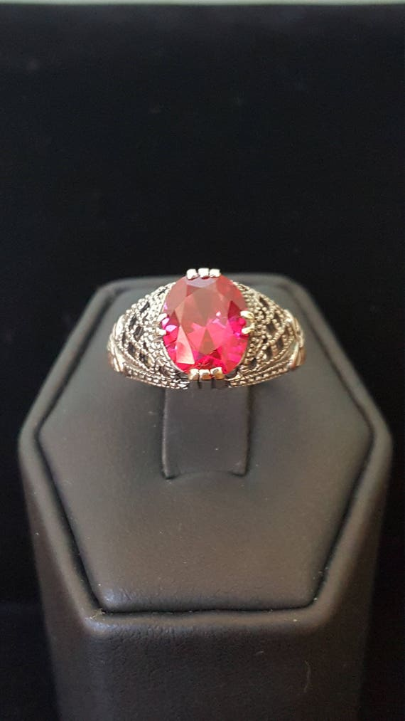 Sterling Silver 2ct Ruby Ring filigree ring 925 S… - image 1