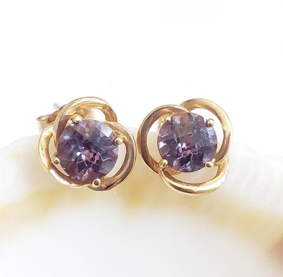 14k Alexandrite Pierced Earrings  - 14k Gold Pierc