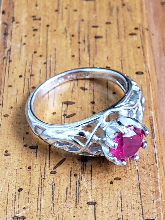 Sterling Silver Ring With Ruby - 925 Lind Sterlin… - image 4