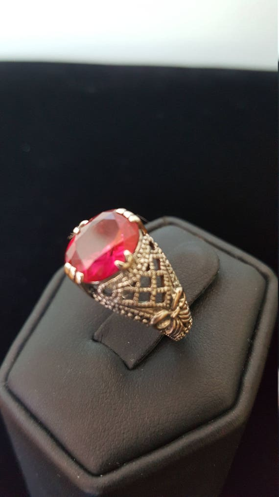 Sterling Silver 2ct Ruby Ring filigree ring 925 S… - image 2