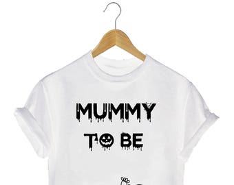 mummy to be little boy Halloween printed T-shirt