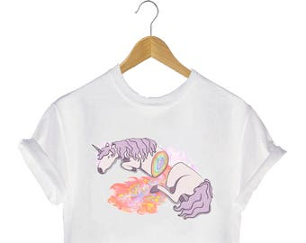 Slaughtered Unicorn printed t-shirt Mystical Colourful Pastel Rainbow Creatures Magical Magic Fairytale