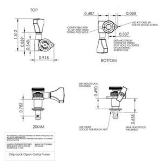Hipshot® Black 3+3 Locking Tuners~8.5mm Post~UMP Kit~Closed Gear~USA~Brand New