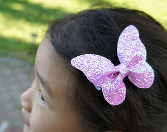 Glitter Large Butterfly Hair Clip - Multi Purple Glitter - alligator clips, baby bows, handmade bows, girl hair bows