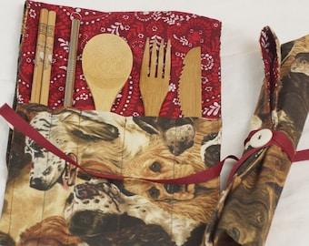 Stainless Steel Straw /& Napkin-Crafty Cutlery Kit Brown Polka Dot-Bamboo Utensils