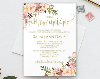 first communion invitation for baby girl pink first communion invitation template instant download invitation girl template editable 0059