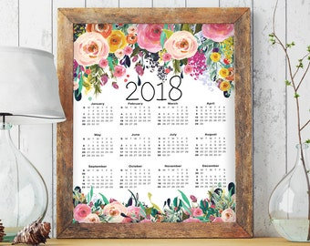 2018 Calendar Printable, Floral Calendar, 2018 Calendar, Large Calendar, Yearly Calendar, Calendar Printable, Calendar 2018, Yearly, BD7020
