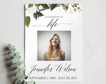 Celebration of Life Program Template, Funeral Program Template, Floral Greenery Funeral Announcement, Memorial Service Template, PDF, 0081