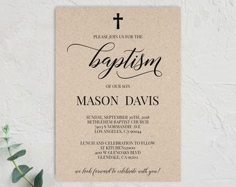 Floral Baptism Invitation Template Baptism Invitation Girl Etsy