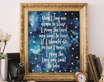Bedtime prayer wall art, Nursery bible verse, Digital print, Now I lay me down to sleep, Bedtime prayer print, Baptism Gift, Digital BD-789