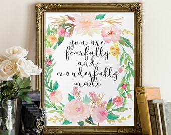 Nursery bible verse, Nursery art, Fearfully and wonderfully made, Psalm 139, Nursery wall art, Christian wall art, Scripture art BD-536