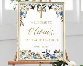 Baptism Welcome Sign Girl, Personalized Baptism Print, Custom Baptism Sign, Gold Baptism Decor, Christening Party Printables, Baptism, 1127