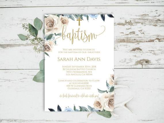 floral baptism invitation template baptism invitation girl etsy