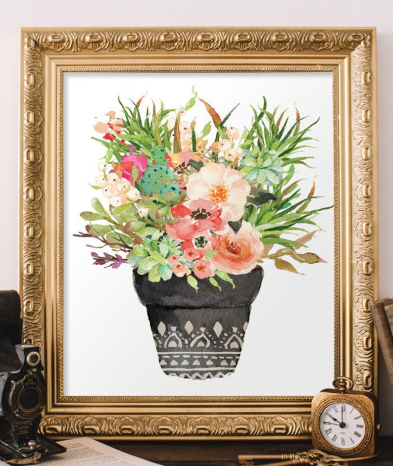 Flower print Botanical print Floral wall decor Home decor Flower art Printable floral art Flower printable BD-672 Watercolor print