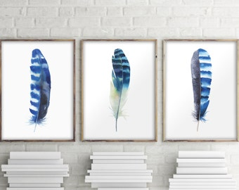 Feather art print, Set of 3 prints, Home decor, Bohemian decor, Watercolor feather, Wall art decor, Feather poster decor,  Room decor BD-993