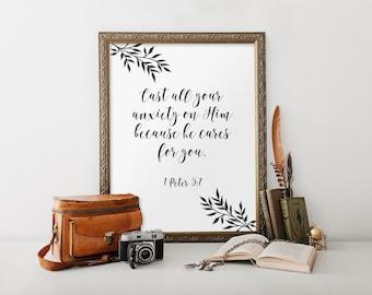 Bible verse, Bible verse print, Scripture print, Scripture art, 1 Peter 5:7, Christian gift, Christian art, Home decor, Printable, BD656