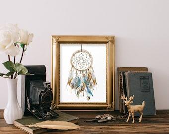 Dream catcher print art, Native american poster, Tribal wall art, Nursery print, Dreamcatcher art print, Instant download feather art BD-779