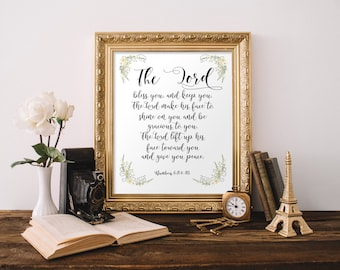 Confirmation gifts for girls, Bible verse art, Numbers 6:24-26, The Lord bless you and keep you, Scripture art, Baptism Decoration BD-615