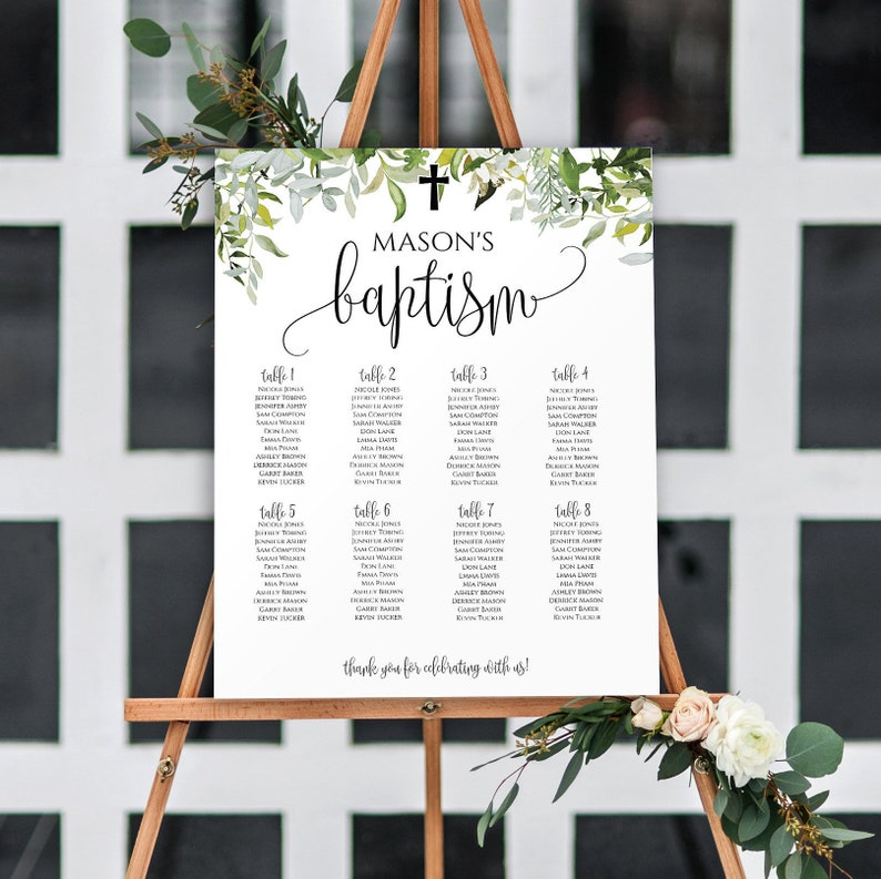 Baptism Decorations Girl, Christening Decorations, Communion Seating Chart  Template, Baptism Decor, Baptism Seating Chart Template, 1128