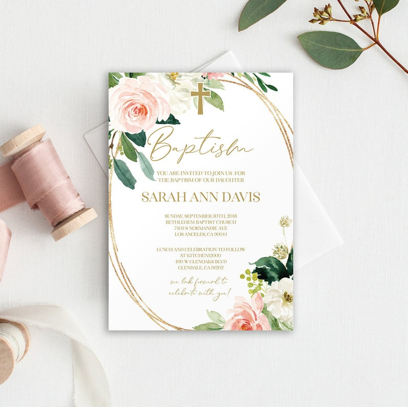 Pink Baptism Invite Floral Invitation Template Girl 1143