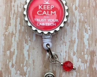 Badge reel for Lab Techs...Keep Calm! Laboratory Lab Week Gift