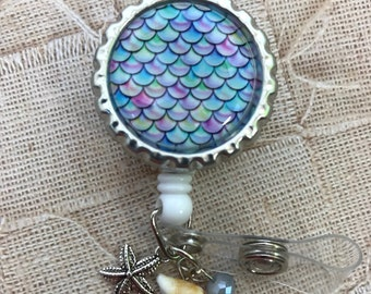 Mermaid Retractable Badge Reel with tiny real shell and starfish charm