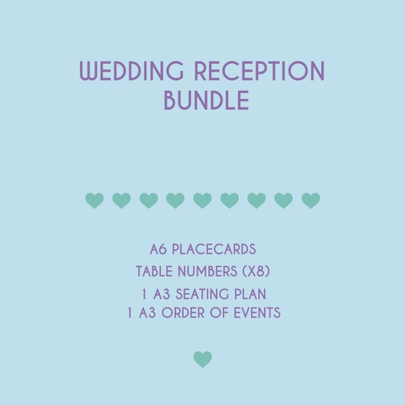 Wedding Reception Bundle Includes Order Of Events Seating Etsy