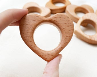 Wooden Heart Pendant Wooden Teether Wooden toy Nursing necklace pendant Pacifier clip pendant Baby gym pendant play gym toy Teething toy