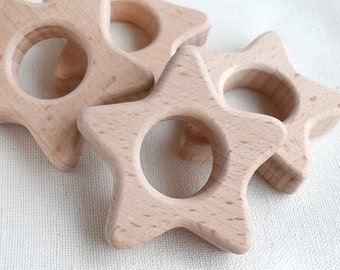 Unfinished Wooden Star Shape Wood Star Pendant Unpainted Wood Star Teether teething supplies teething baby gym pendant Christmas ornaments