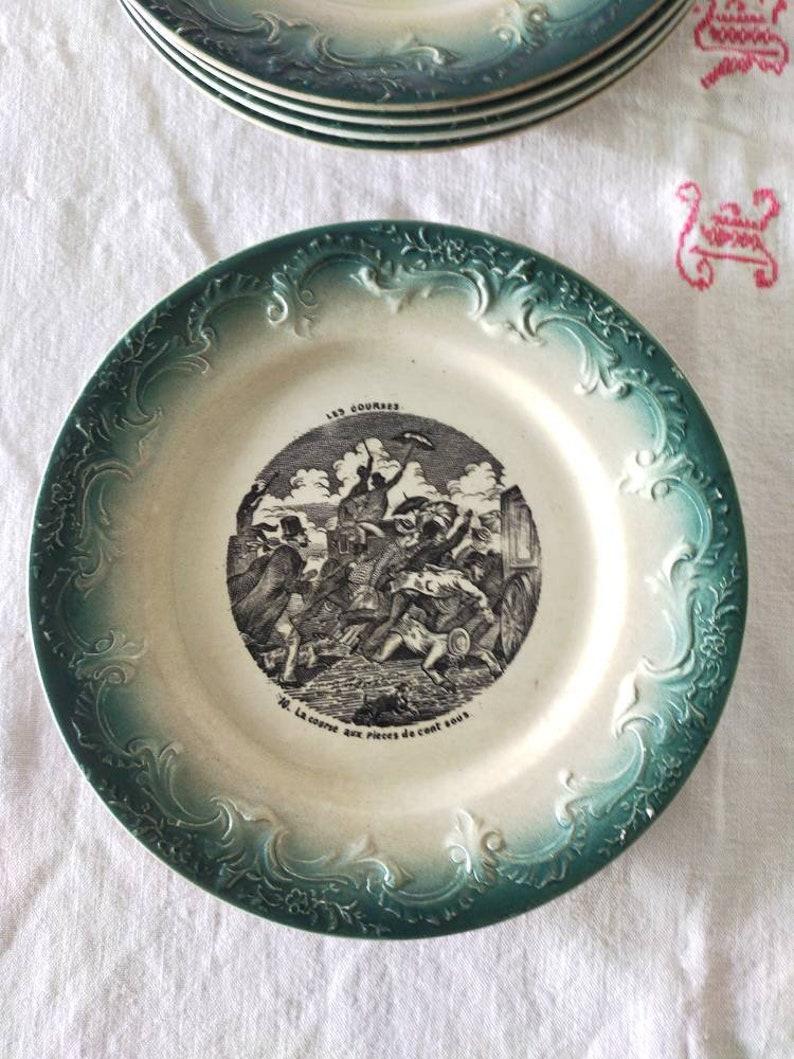 6 Old plates Terre de fer talking Plates Pexonne XIXth Set of 6 plates Terre de Fer 19th
