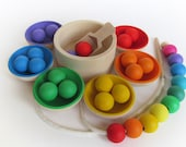 Gift - Wooden Rainbow Bowls and Balls - Sorting toy - Wood game - Pretend Play - Montessori Inspired Toddler Toy - Waldorf Motor Skills Toy