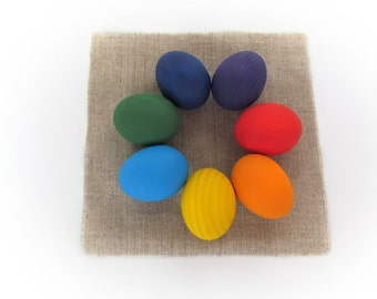 Easter gift - Gift for baby - Rainbow SMALL EGGS - 7 Easter eggs - Pretend Play - Play Food - Waldorf - Montessori Toddler Toy - Natural Toy