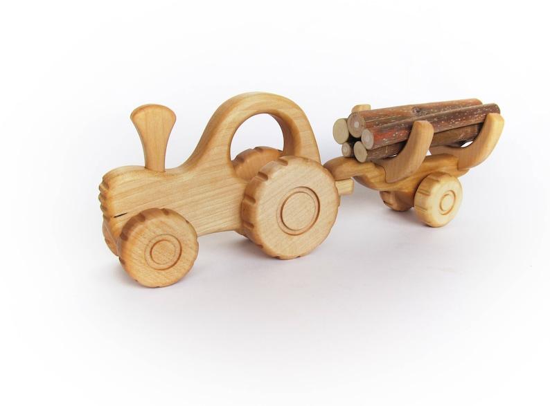 Pour De Voiture Véhicules Garçon Cristmas Bois Bébé Naturel Transporteur Jouet Camion Cadeau En Montessori IW29EDHY