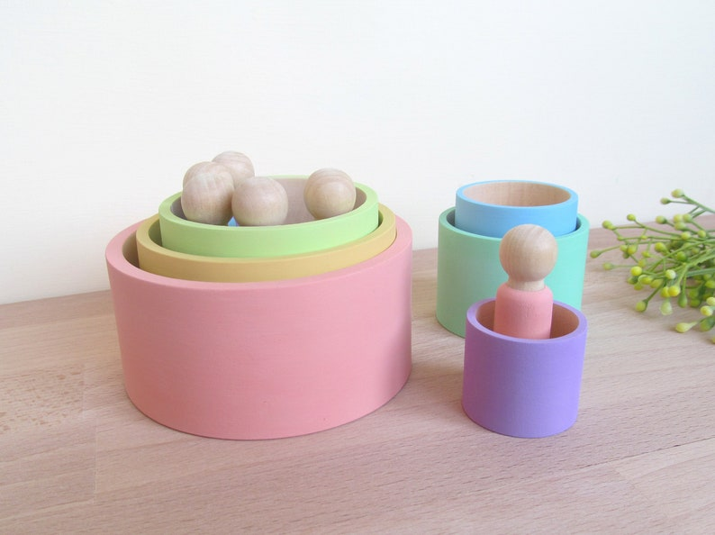 Nesting Bowls Montessori Wooden Stacking Cups Sorting Rainbow Materials Waldorf Toy 1st Birthday Gift SET Baby Wooden Rainbow 6 Bowls