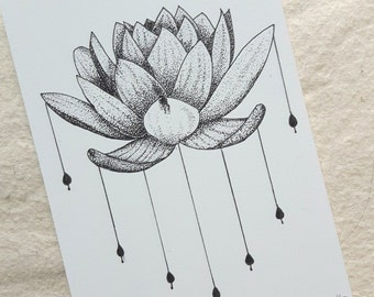 Lotus Flower Stippling Design Print