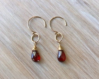 Red Garnet Wire Wrapped Gemstone Gold Filled Handmade Earrings