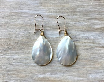 Mother of Pearl Handmade Wire Wrapped Earrings