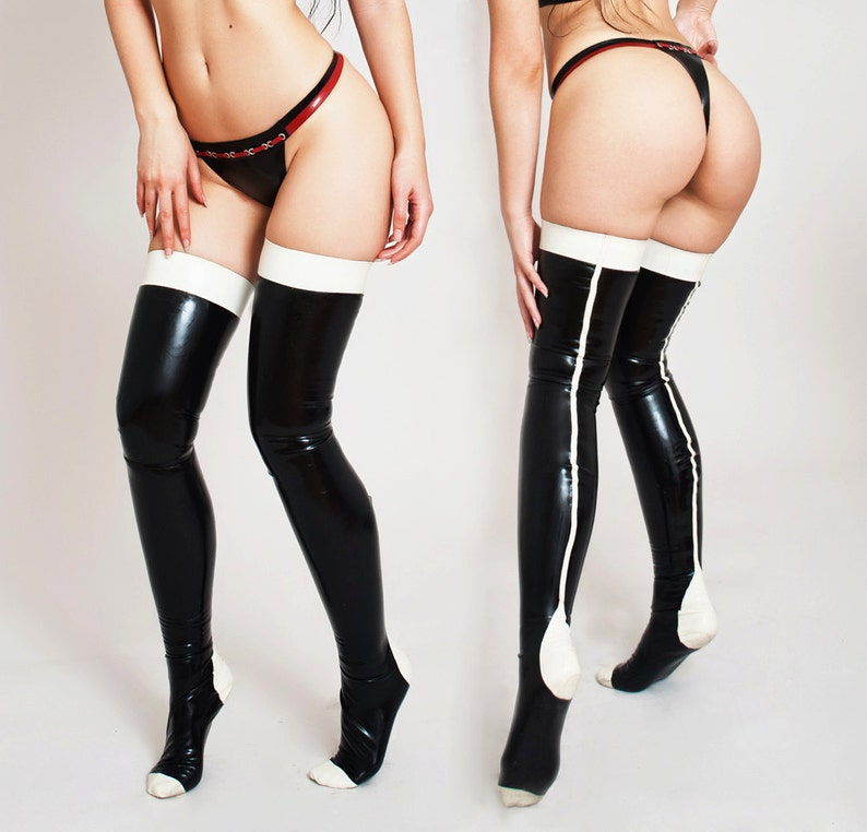 Latex Stockings  Handmade Custom Made to order Two colors image 0