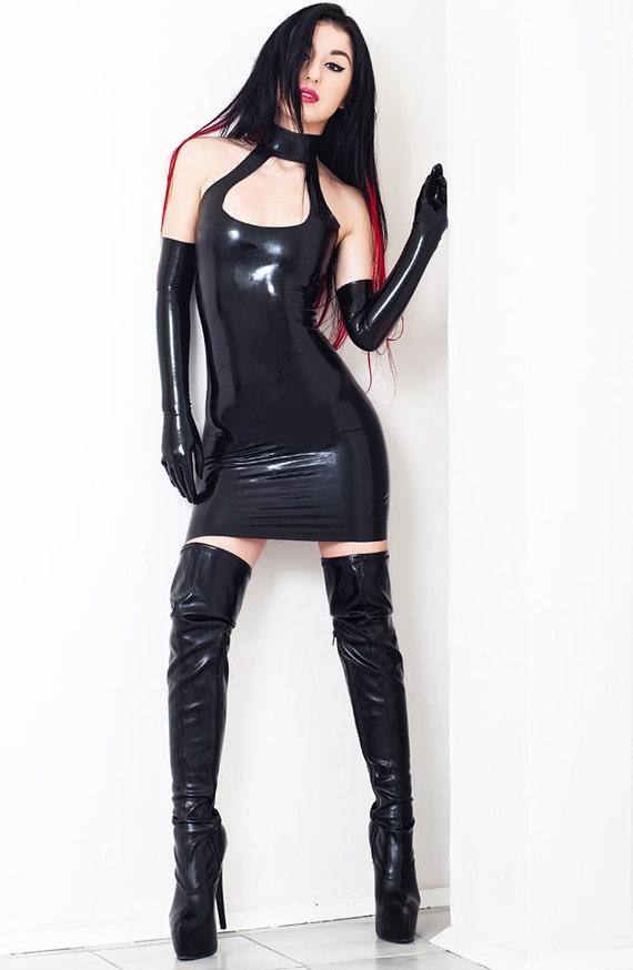 Mini Halter Neck Latex Dress Without Zipper Open Chest Etsy