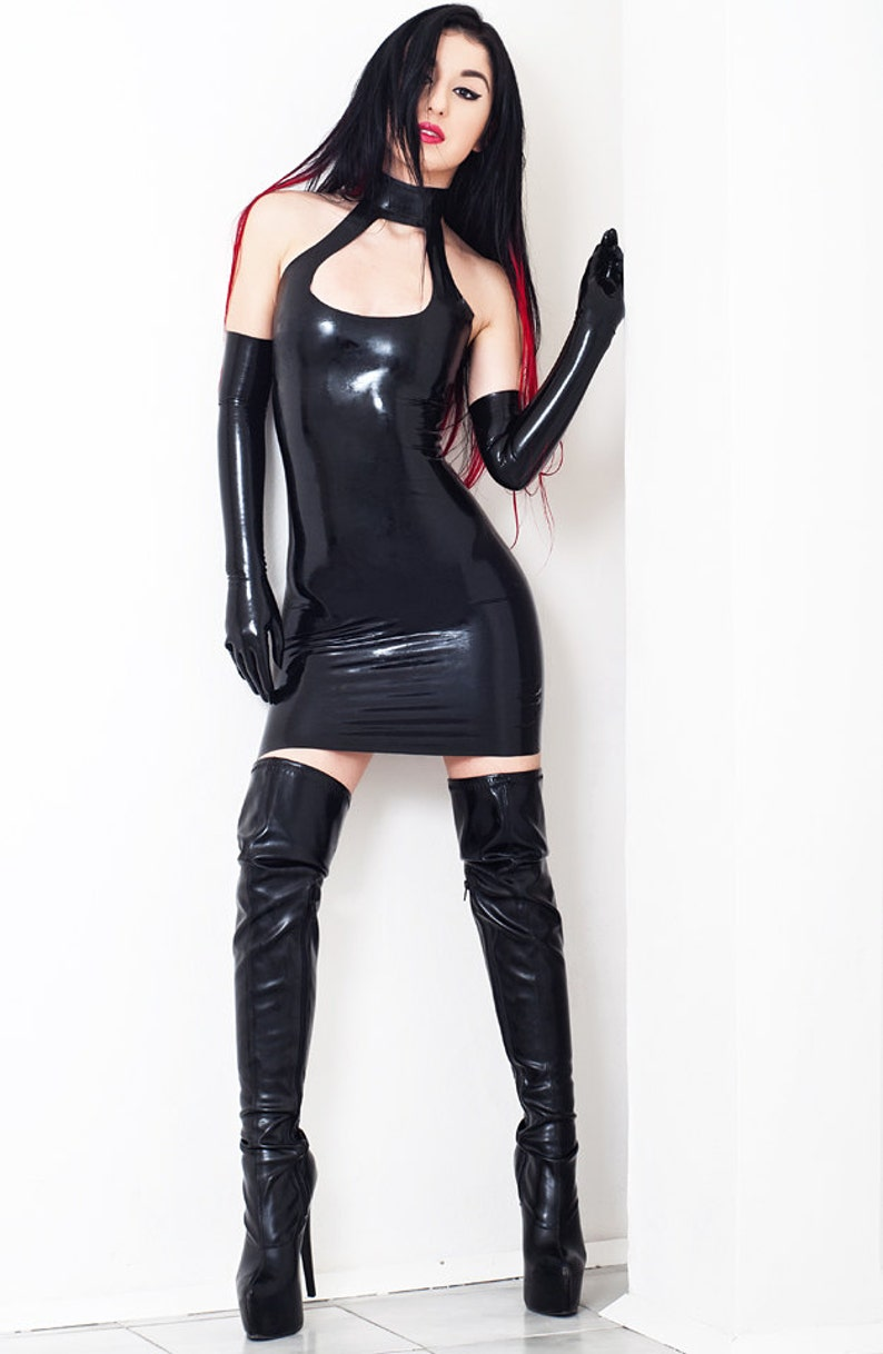 Mini Halter Neck Latex Dress Without Zipper Open Chest. image 0