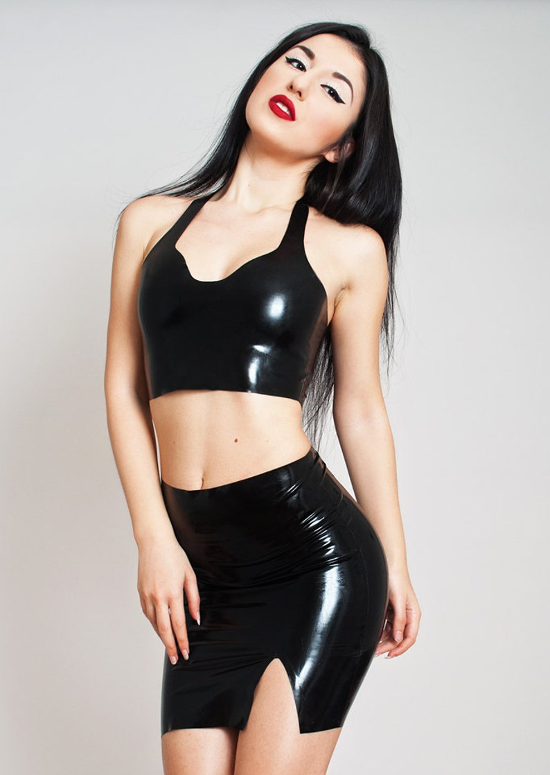 Latex Crop Top Made to measure Rubber Shiny Short Top No image 0