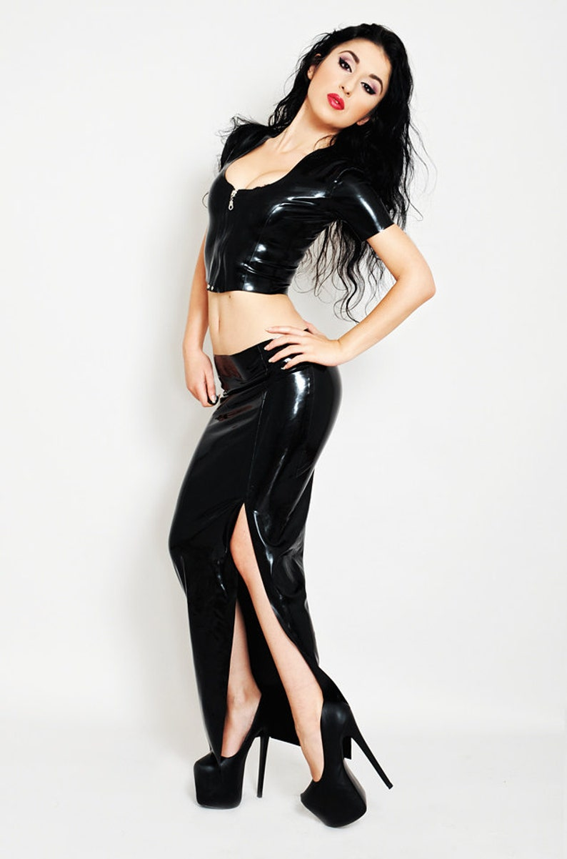 Long Latex Skirt with Thigh Split Low waisted Black Long image 0