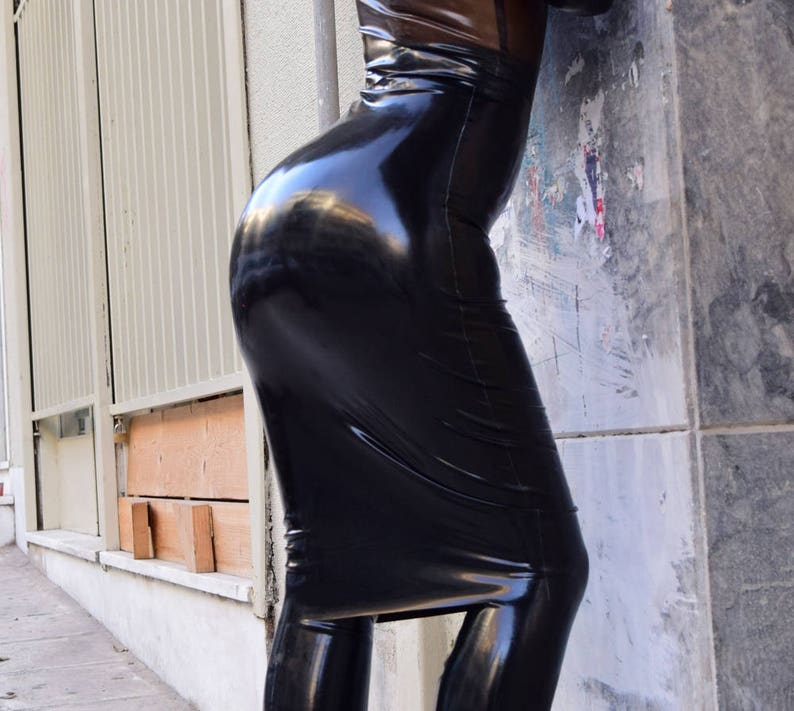 Latex Pencil Skirt. Made to measure Rubber Skirt. Shiny Skirt. image 0