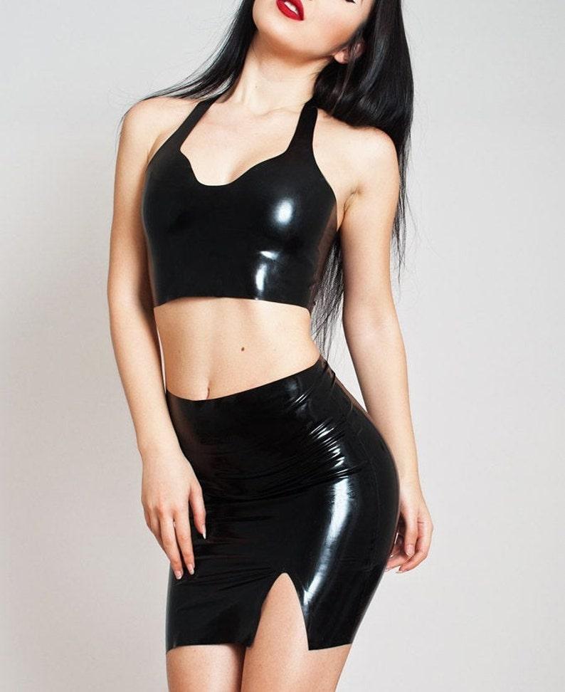 Latex Skirt. Mini Shiny Black Rubber Skirt. Classic black image 0
