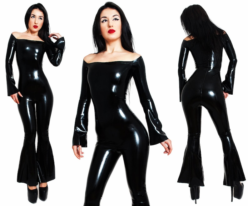Latex Catsuit. Without a Zipper  Bell Bottoms Flared Long image 0