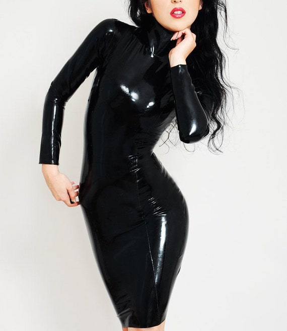 Sizes UK 6-16 Latex Dress Gifts for Her Made to order Various Colours Available Long Sleeved Tank Dress