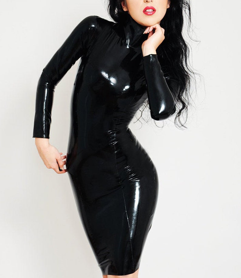 Long Sleeved Latex Dress Knee length Dress. Made to measure. image 0