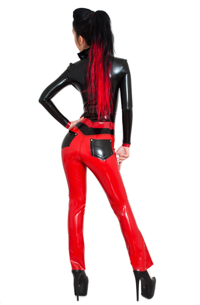 Latex Rubber Jeans Trousers Bootcut image 0