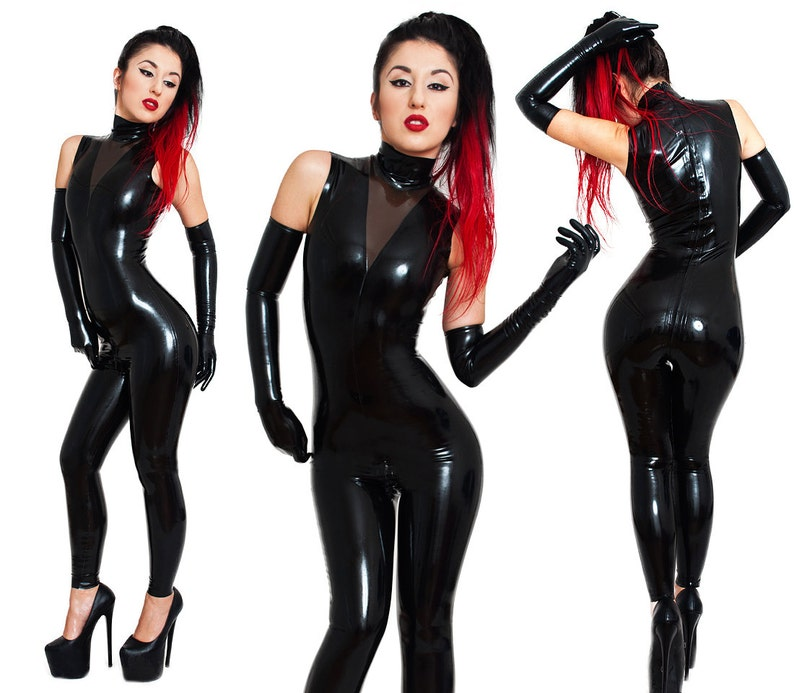 Sleeveless Latex Catsuit With a Back Zipper. Transparent Part. image 0